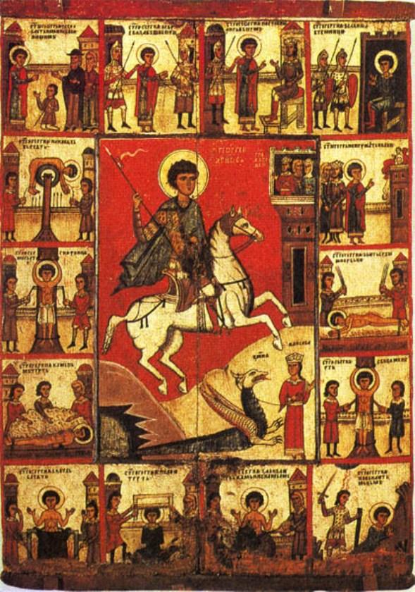 Древняя икона георгия победоносца из металла