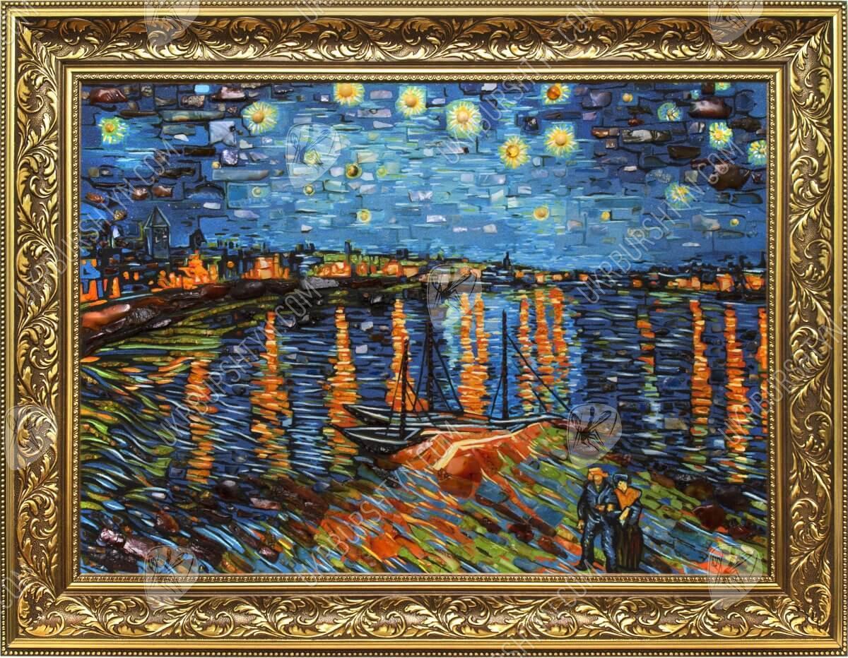 Магазин янтаря: Купить панно «Звездная ночь над Роной» Ван Гог Звездная Ночь над Роной Ван Гог